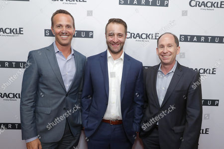 """EVP, Digital Networks, Sony Pictures Television and General Manager, Crackle - Eric Berger, Creator/Director/ Writer/EP Ben Ketai and President of Worldwide Networks, Sony Pictures Television, Andy Kaplan seen at Crackle's """"StartUp"""" Premiere at The London West Hollywood, in Los Angeles, CA"""