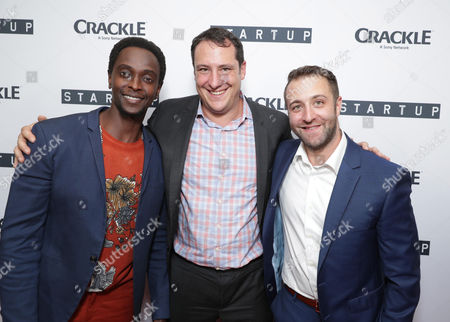 """Edi Gathegi, Vice President Head of Digital Development at Crackle, John Orlando and Creator/Director/ Writer/EP Ben Ketai seen at Crackle's """"StartUp"""" Premiere at The London West Hollywood, in Los Angeles, CA"""