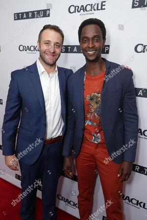 """Creator/Director/Writer/EP Ben Ketai and Edi Gathegi seen at Crackle's """"StartUp"""" Premiere at The London West Hollywood, in Los Angeles, CA"""