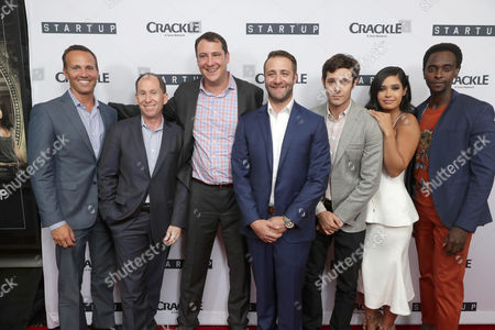"""EVP, Digital Networks, Sony Pictures Television and General Manager, Crackle, Eric Berger, President of Worldwide Networks, Sony Pictures Television, Andy Kaplan, Vice President Head of Digital Development at Crackle, John Orlando, Creator/Director/ Writer/EP Ben Ketai, Adam Brody, Otmara Marrero and Edi Gathegi seen at Crackle's """"StartUp"""" Premiere at The London West Hollywood, in Los Angeles, CA"""