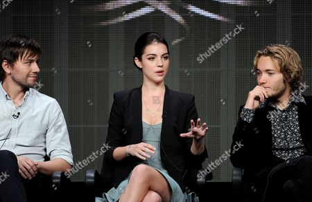 "From left, actors Torrance Coombs, Adelaide Kane and Toby Regbo participate in the ""Reign"" panel at the 2013 CW Summer TCA Press Tour at the Beverly Hilton Hotel on in Beverly Hills, Calif"