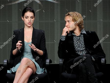 "From left, actors Adelaide Kane and Toby Regbo participate in the ""Reign"" panel at the 2013 CW Summer TCA Press Tour at the Beverly Hilton Hotel on in Beverly Hills, Calif"