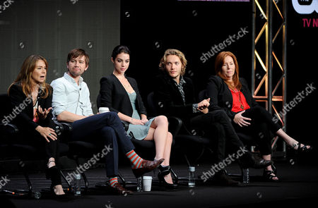 "From left, actors Megan Follows, Torrance Coombs, Adelaide Kane, Toby Regbo and executive producer Laurie McCarthy participate in the ""Reign"" panel at the 2013 CW Summer TCA Press Tour at the Beverly Hilton Hotel on in Beverly Hills, Calif"