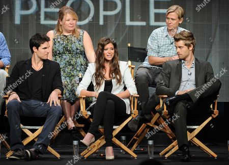 """From top left, executive producer Julie Plec, Phil Klemmer and actors Luke Mitchell, Peyton List and Robbie Amell participate in the """"The Tomorrow People"""" panel at the 2013 CW Summer TCA Press Tour at the Beverly Hilton Hotel on in Beverly Hills, Calif"""