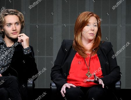 "From left, actor Toby Regbo and executive producer Laurie McCarthy participate in the ""Reign"" panel at the 2013 CW Summer TCA Press Tour at the Beverly Hilton Hotel on in Beverly Hills, Calif"