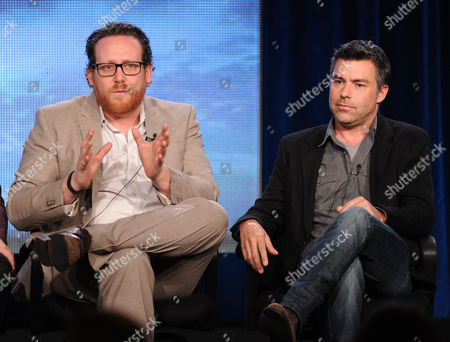 """From left, cast member Josh Applebaum and executive producer Andre Nemec participate in the """"Star Crossed"""" panel at the CBS Winter TCA Press Tour, on at the Langham Huntington, in Pasadena, Calif"""