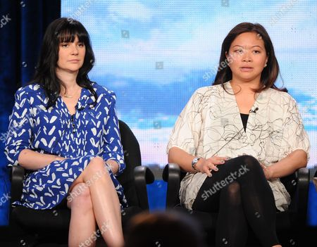 """From left, executive producers Meredith Averill and Adele Lim participate in the """"Star Crossed"""" panel at the CBS Winter TCA Press Tour, on at the Langham Huntington, in Pasadena, Calif"""