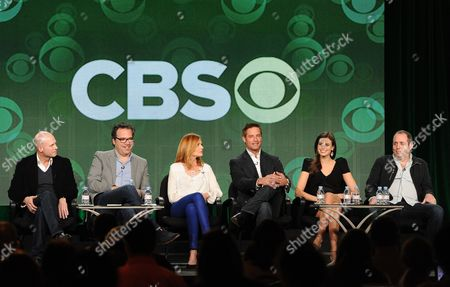 """From left, executive producers Tripp Vinson and Michael Seitzman and cast members Marg Helgenberger, Josh Holloway, Meghan Ory and executive producer Barry Schindel participate in the """"Intelligence"""" panel at the CBS Winter TCA Press Tour, on at the Langham Huntington, in Pasadena, Calif"""