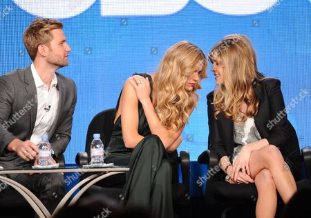 """From left, cast members Rick Donald, Brooklyn Decker and Majandra Delfino participate in the """"Friends With Better Lives"""" panel at the CBS Winter TCA Press Tour, on at the Langham Huntington, in Pasadena, Calif"""