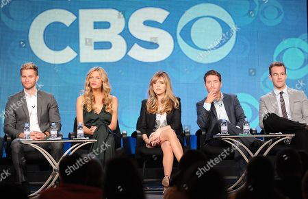 """From left, cast members Rick Donald, Brooklyn Decker, Majandra Delfino, Kevin Connolly and James Van Der Beek participate in the """"Friends With Better Lives"""" panel at the CBS Winter TCA Press Tour, on at the Langham Huntington, in Pasadena, Calif"""