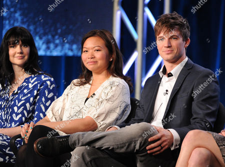 """From left, executive producers Meredith Averill and Adele Lim and cast member Matt Lanter participate in the """"Star Crossed"""" panel at the CBS Winter TCA Press Tour, on at the Langham Huntington, in Pasadena, Calif"""