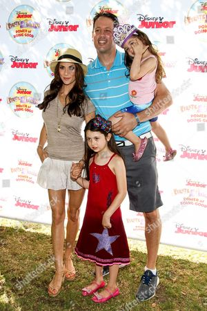 "Samantha Harris, Michael Hess and children Josselyn Sydney Hess, Hillary Madison Hess attend the Disney Junior's ""Pirate And Princess: Power Of Doing Good"" Tour event at Brookside Park, in Pasadena, Calif"