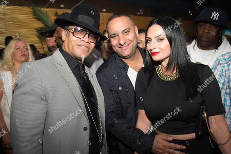 """Melle Mel, left, and Russell Peters, center, and Ruzanna Khetchian, right, at Drake's album launch party for """"Views"""" at La Vie, in Toronto, ON"""