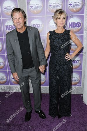 Vincent Van Patten, left, and Eileen Davidson arrive at the Family Equality Council Los Angeles Awards Dinner held at the Beverly Hilton, in Beverly Hills, Calif