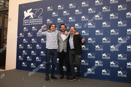 From left, actor Peter Lanzani, director Pablo Trapero, and actor Guillermo Francella pose for photographers at the photo call for the film El Clan (The Clan) during the 72nd edition of the Venice Film Festival in Venice, Italy, . The 72nd edition of the festival runs until Sept. 12