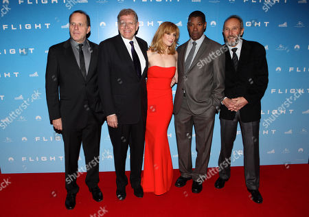 Jack Rapke, Robert Zemeckis (director) Kelly Reilly, Denzel Washington, Steve Starkey seen at the UK premiere of Flight at the Empire Leicester Square, in London
