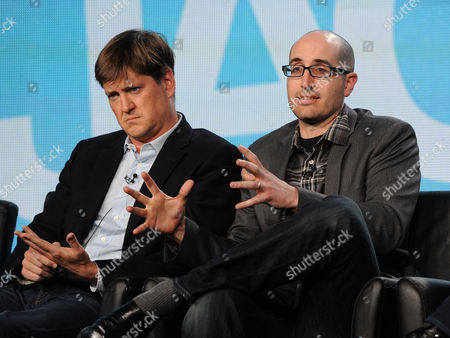 "From left, executive producer Bill Lawrence and co-creator/executive producer Justin Halpern participate in FOX's ""Surviving Jack"" panel at the FOX Winter TCA Press Tour, on at the Langham Huntington, in Pasadena, Calif"