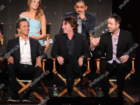 """From top left, Shantel Vansanten and Rey Gallegos and from bottom left, executive producers Brian Grazer, Scott Rosenbaum and creator/writer/executive producer Chris Morgan participate in FOX's """"Gang Related"""" panel at the FOX Winter TCA Press Tour, on at the Langham Huntington, in Pasadena, Calif"""
