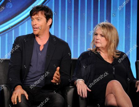 """From left, judges Harry Connick, Jr. and executive producer Trish Kinane participate in FOX's """"American Idol XIII"""" panel at the FOX Winter TCA Press Tour, on at the Langham Huntington, in Pasadena, Calif"""
