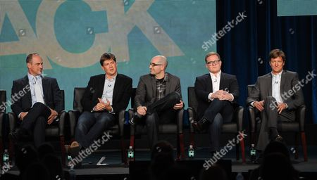 "From left, Christopher Meloni, executive producer Bill Lawrence, co-creators/executive producers Justin Halpern and Patrick Schumacker and executive producer Jeff Ingold participate in FOX's ""Surviving Jack"" panel at the FOX Winter TCA Press Tour, on at the Langham Huntington, in Pasadena, Calif"