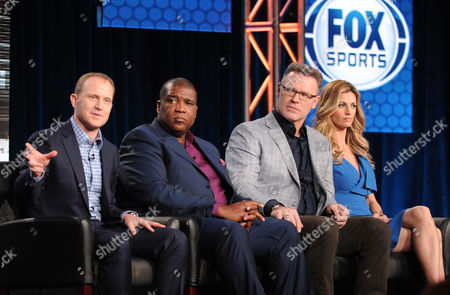 "From left, executive producer Eric Shanks, host Curt Menefee, analyst Howie Long and reporter Erin Andrews participate in FOX Sports' ""Super Bowl XLVIII"" panel at the FOX Winter TCA Press Tour, on at the Langham Huntington, in Pasadena, Calif"