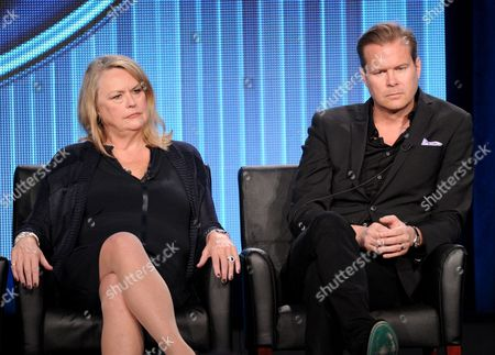 """From left, executive producers Trish Kinane and Per Blankens participate in FOX's """"American Idol XIII"""" panel at the FOX Winter TCA Press Tour, on at the Langham Huntington, in Pasadena, Calif"""
