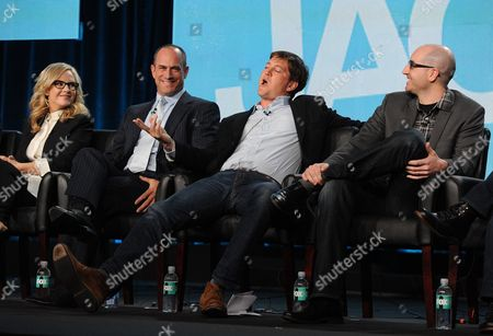 "From left, cast members Rachael Harris and Christopher Meloni, executive producer Bill Lawrence and co-creator/executive producer Justin Halpern participate in FOX's ""Surviving Jack"" panel at the FOX Winter TCA Press Tour, on at the Langham Huntington, in Pasadena, Calif"