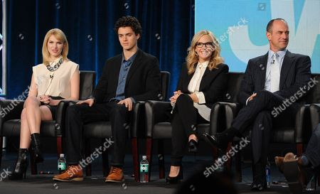 """Stock Photo of From left, cast members Claudia Lee, Connor Buckley, Rachael Harris and Christopher Meloni participate in FOX's """"Surviving Jack"""" panel at the FOX Winter TCA Press Tour, on at the Langham Huntington, in Pasadena, Calif"""