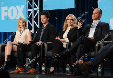"""Stock Image of From left, cast members Claudia Lee, Connor Buckley, Rachael Harris and Christopher Meloni participate in FOX's """"Surviving Jack"""" panel at the FOX Winter TCA Press Tour, on at the Langham Huntington, in Pasadena, Calif"""