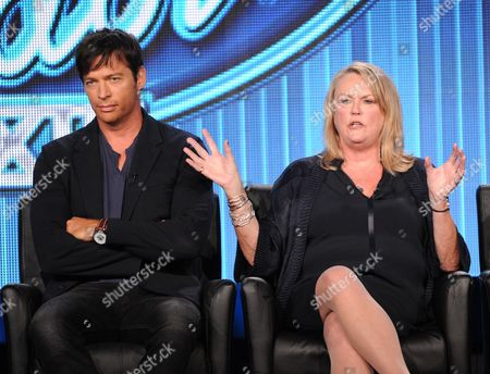 """From left, judge Harry Connick Jr. and executive producer Trish Kinane participate in FOX's """"American Idol XIII"""" panel at the FOX Winter TCA Press Tour, on at the Langham Huntington, in Pasadena, Calif"""