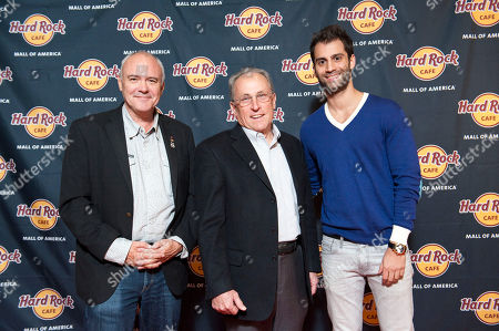 From left; President and CEO of Hard Rock International Hamish Dodds, Bloomington Mayor Gene Winstead and Mall of America owner Tony Ghermezian walk the red carpet at the Grand Opening party for Hard Rock Cafe Mall of America, in Bloomington, Minn