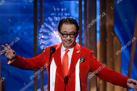 George Cheung speaks on stage at the Huading Film Awards at the Ricardo Montalban Theater, in Hollywood, Calif