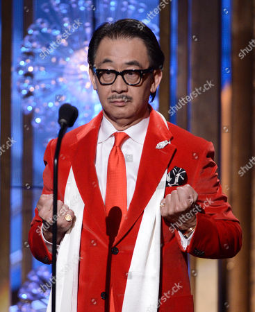 Stock Photo of George Cheung speaks on stage at the Huading Film Awards at the Ricardo Montalban Theater, in Hollywood, Calif