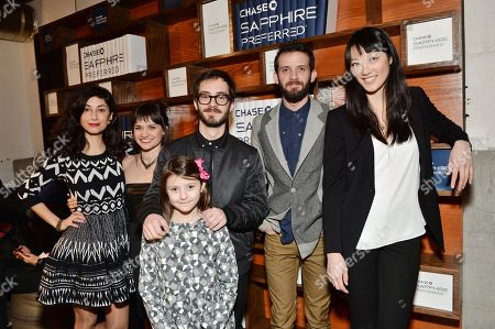 "The Eyes of My Mother"" cast, from left, Kika Magalhaes, Flora Diaz, Olivia Bond, director Nicolas Pesce, Will Brill and Clara Wong pose together at the Indiewire Photo Studio at Chase Sapphire on Main During The 2016 Sundance Film Festival on in Park City, Utah"