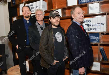 Director Cut cast members, left to right, Penn Jillette, Harry Hamlin, director Adam Rifkin and Teller line up at the Indiewire Photo Studio at Chase Sapphire on Main during the 2016 Sundance Film Festival, in Park City, Utah