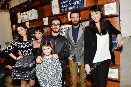 """The Eyes of My Mother"""" cast, from left, Kika Magalhaes, Flora Diaz, Olivia Bond, director Nicolas Pesce, Will Brill and Clara Wong pose together at the Indiewire Photo Studio at Chase Sapphire on Main During The 2016 Sundance Film Festival on in Park City, Utah"""