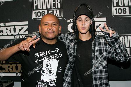 "J Cruz, left, and Justin Bieber seen at ""The Cruz Show"" at the Power 106 Studios, in Burbank, Calif"