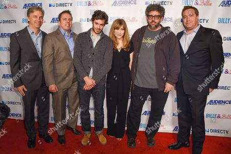 "Dan York, from left, Chris Long, Adam Brody, Lisa Joyce, Neil Labute and Bart Peters arrive at a premiere of ""Billy & Billie"" at The Lot, in West Hollywood, Calif"