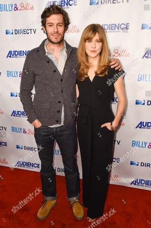 "Adam Brody, left, and Lisa Joyce arrive at the premiere of ""Billy & Billie"" at The Lot, in West Hollywood, Calif"