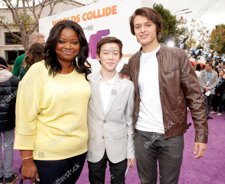 """Octavia Spencer, Griffin Gluck and Nolan Sotillo attend the Los Angeles Premiere of """"Home"""" at the Regency Village Theatre, in Westwood, Calif"""