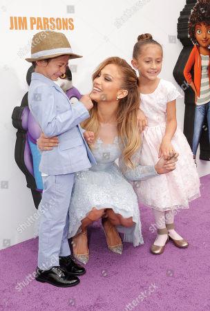 "Maximilian David Muniz, Jennifer Lopez and Emme Maribel Muniz attend the Los Angeles Premiere of ""Home"" at the Regency Village Theatre, in Westwood, Calif"