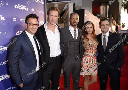"""Writer/director Luke Greenfield and from left, James D'Arcy, Damon Wayans Jr., Nina Dobrev and Jake Johnson arrive at the Los Angeles premiere of """"Let's Be Cops"""" at the Cinerama Dome on"""