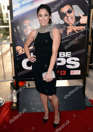 "Jessica Luza arrives at the Los Angeles premiere of ""Let's Be Cops"" at the Cinerama Dome on"