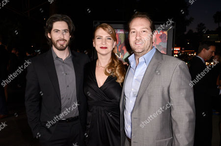 """Director/co-writer/producer Jason Reitman, and from left, producer Helen Estabrook and executive producer Mason Novick arrive at the premiere of """"Men, Women & Children"""" at The Directors Guild of America, in Los Angeles"""