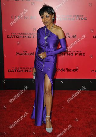 """Stock Photo of Maria Howell arrives at the Los Angeles premiere of """"The Hunger Games: Catching Fire"""" at Nokia Theatre LA Live on"""