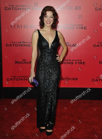 """Stock Image of Megan Hayes arrives at the Los Angeles premiere of """"The Hunger Games: Catching Fire"""" at Nokia Theatre LA Live on"""