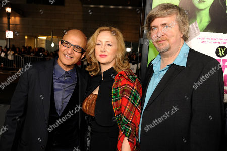 "Stock Image of Deepak Nayar, left, Susan Montford, center, and Don Murphy, producers of ""Vampire Academy,"" pose together at the premiere of the film, in Los Angeles"