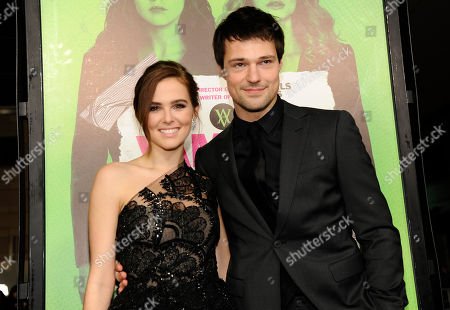 "Zoey Deutch, left, a cast member in ""Vampire Academy,"" poses with fellow cast member Danila Kozlovsky at the premiere of the film, in Los Angeles"