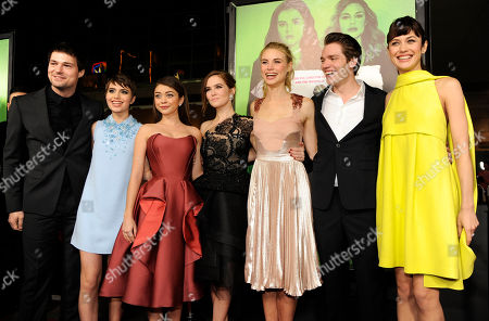 "Left to right, ""Vampire Academy"" cast members Danila Kozlovsky, Sami Gayle, Sarah Hyland, Zoey Deutch, Lucy Fry, Dominic Sherwood and Olga Kurylenko pose together at the premiere of the film, in Los Angeles"