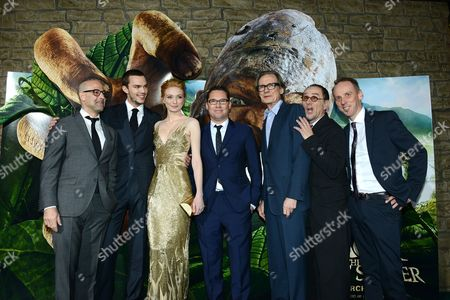 """Stanley Tucci, Nicholas Hoult, Eleanor Tomlinson, Bryan Singer, Bill Nighy, John Kassir, and Ewen Bremner arrive at the LA premiere of """"Jack the Giant Slayer"""" at The TCL Chinese Theatre on in Los Angeles"""